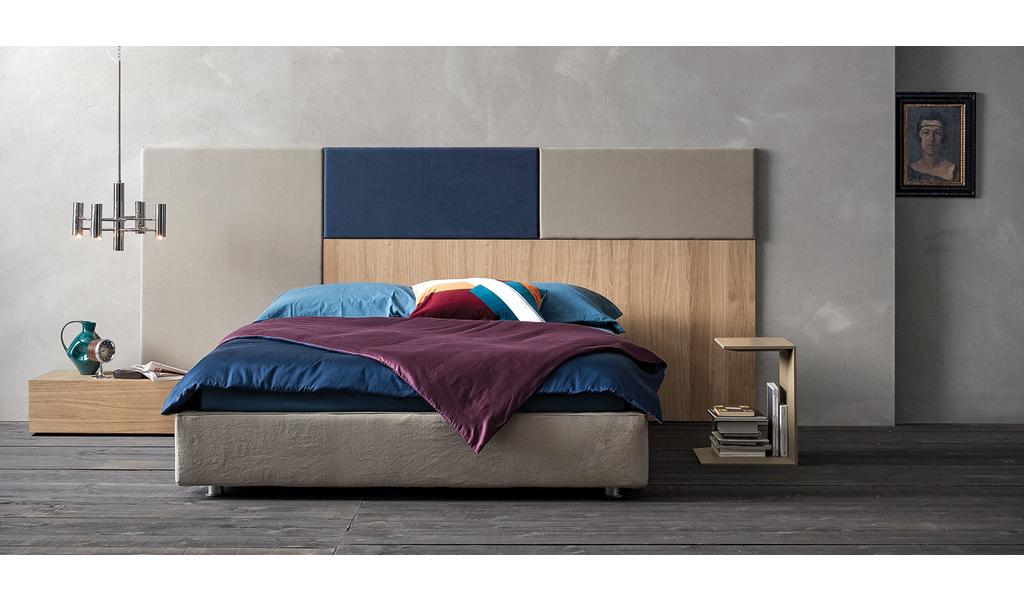 Lit avec tête de lit matelassée composable Square